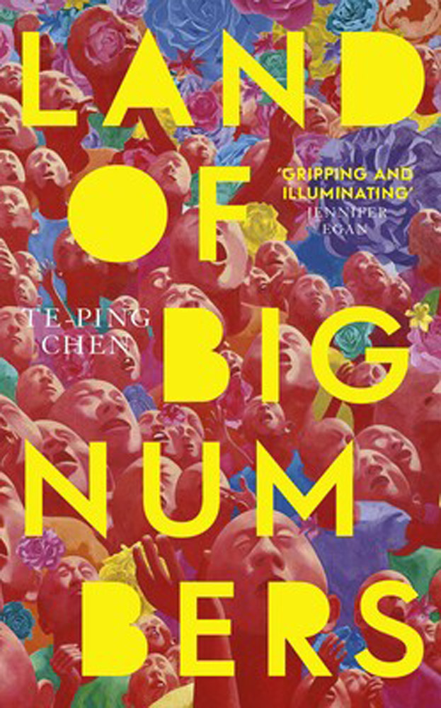 Land of big numbers book cover - red background with yellow writing